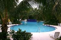 This trilobal pool is adjacent to the Club House and work-out rool at the Key West Golf Club